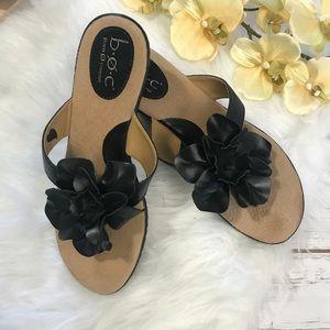 boc Shoes - B.O.C. Wedge Sandals Black Flower